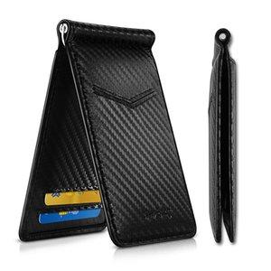 Бумажники Держатели Деньги клипы NewBring Black Carbon Fiber-Look деньги клип RFID Блокировка Драйвер лицензий ID Наличный
