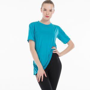 Lulu and Lemon Short Sleeves Running T-shirt Quick Dry Yoga T-shirt Fold Design Fitness Shirt Women