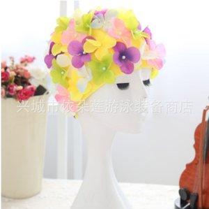 p5av5 Produktion Area Sales koreanische Art und Weise handgemachte künstliche Blume Stereoblumen extra große Badekappe Gehörschutz lange Haare Frauen'