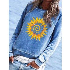 Women Printing O-Neck Sweatshirt Autumn Casual Long Sleeve Tops Loose Pullover Sweatshirt Blouse Womens Plus Size Sweatshirts