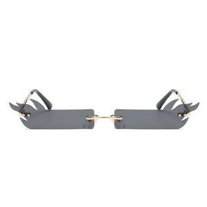2020 Малый прямоугольник Солнцезащитные очки Женщины Flame Rimless Brand Square Cat Eye Солнцезащитные очки для дам Винтажная Trending Женский UV400