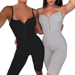 Da Mulher Sexy Zipper V Neck Solid Color Bodycon Romper Ladies Verão Strappy Macacão One Piece playsuit Calças