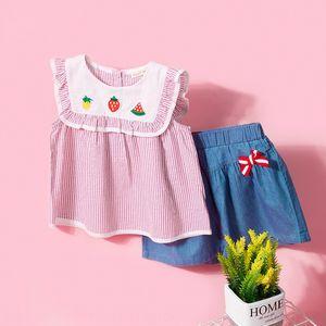 2020 new sleeveless Fruit Lace Shirt children's clothing wooden ear lace lapel silver silk shiny fruit striped shirt