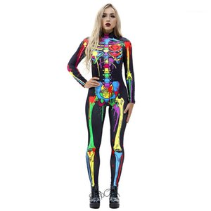 Skinny Halloween Long Sleeve O Neck Womens Catsuit Costumes Capris Skull 3D Floral Womens Costumes Skeleton