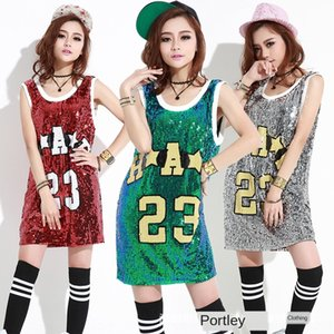 NaewP 2020 ds costume hip-hop Vest clothing T-shirt clothing hip-hop stage suit 23 digital sequins vest sleeveless long loose T-shirt female