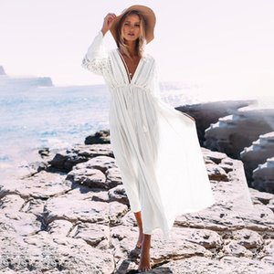 Beach Cover Up Women 2020 Beachwear Floral Lace Bikini Cover Long Dress Cardigan Swimwear Sexy Bathing Suit Cover Ups Body Suit Y200708