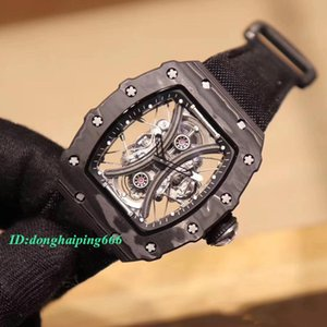 Best version RM 53-01 Pablo Mac Donough NTPT Carbon Fiber Case Skeleton Dial Miyota Automatic RM53-01 Mens Watch Nylon Strap Sport Watches