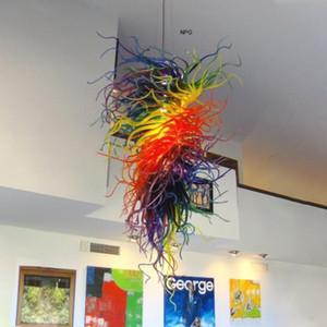 Damla Şekli Spiral Sarkıt üfleme cam avize aydınlatma G9 Yemek Salon Mağaza sanat Deco LED Renkli Cam Boru Kolye Işıklar-L