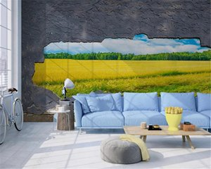 Country Ctyle Wallpaper 3D Three-dimensional Wheat Field Landscape Background Wall Digital Printing HD Decorative Beautiful Wallpaper