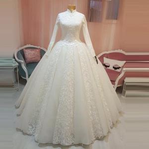 2020 do vintage árabe vestido nupcial islâmica muçulmana vestidos de casamento gola alta árabe vestido de baile Lace Hijab mangas compridas Princesa vestidos de noiva