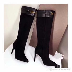 fibbie pelle scamosciata delle donne amanti della moda stivali alti neri scarpe col vestito di nozze stivali autunno del partito delle signore caricamenti del sistema lunghi scarpe a punta a punta