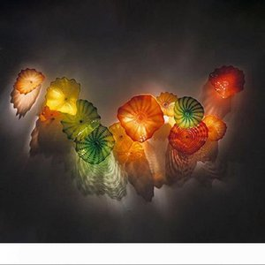 Murano Glass Wall Mount Light Fixtures Blown Glass Flower Wall Lamps Art Decorative Blown Glass Wall Art Custom Made Plates Free Shipping.