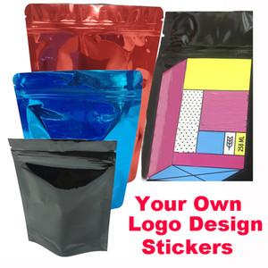 Childproof 가방 명확한 플라스틱 mylar 미니 사용자 정의 로고 지퍼 잠금 가방 스티커 레이블 캔디 선물 창 봉지 포장 무료 배송