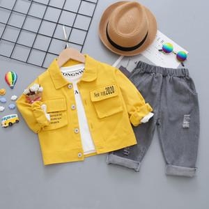 Jchao Enfants Printemps Garçons Automne Vêtements Ensembles lettres coton bébé garçon Vêtements Ensembles 3Pcs manteau + chemise + pantalon vêtements tout-petits Suit