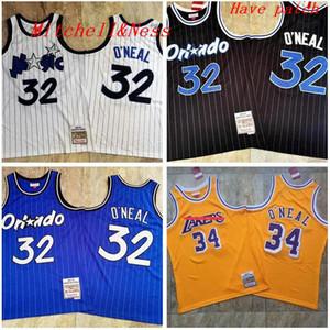 hombres Orlandomagia32 ShaqO'Neill Mitchell & Ness 1993-1994-95 amarilla en blanco y negro de baloncesto Jersey y pantalón
