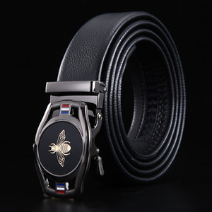 Fashion Automatic Buckle PU Leather Belt Men's Black Belts for Men 3.5cm Width