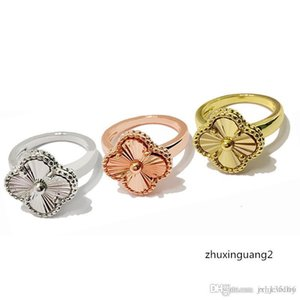 18K Rose Gold Plated Rings Four Leaves Clover Designer Jewelry Ajustable SizeDesigner fashion Ring for Women