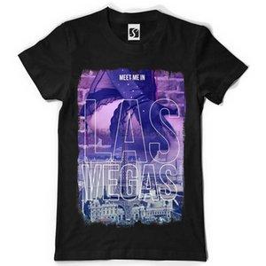Münhasır Erkekler Tişört - Meet Me In Las Vegas Tasarım Sb033 - Siyah Tee