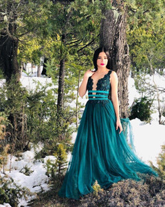 Teal Prom Dresses Long Deep V Neck Backless Sweep Train A Line Appliques Sash Formal Evening Party Gown Ladies Celebrity Wear Plus Size