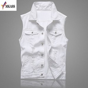 MKASS Vintage Design Veste Denim Homme Homme Couleur Blanc Slim Fit manches Vestes Homme trou Brand Jeans Taille Plus Waistcoat 5XL ACDN #