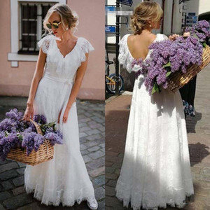 2020 Boho Beach Wedding Dresses A Line V Neck Floor Length Bridal Gowns With Full Lace Backless Wedding Gowns