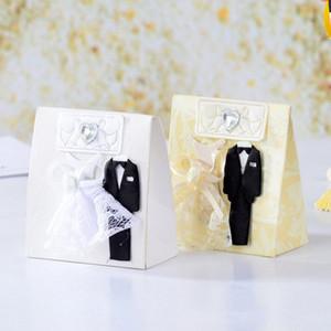 Bridegroom Bride Wedding Box White Beige Tuxedo Groom Candy Gift Boxes 12pc set Wedding Party Candy Gift Box