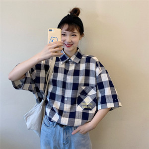 2020 New loose student T- loose topstyle short sleeve Top T- shirt plaid shirt female