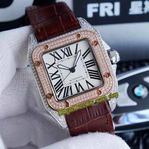 최고의 버전 TWF V12 W2SA0017 W2SA0011 WHITE DIAL JAPAN MIYOTA 8215 자동 망 시계 아이스 다이아몬드 인레이 케이스 가죽 캐주얼 시계