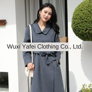 Dan Yafei lana nueva de doble lado del hombro temperamento lana hebilla de doble cara de lana de cachemira abrigo de la capa femenina