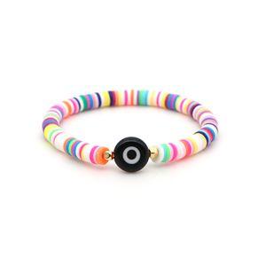 Women Boho Bracelets Multicolored Polymer Clay Devil eye Rainbow Stretch Bracelet 2020 New Bohemian Beach Beaded Strands Bracelet Jewelry