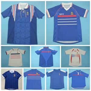 1982 1996 2002 Retro en France ZIDANE Soccer Jersey HENRY TREZEGUET GUERRA VIEIRA TREZEGUET ANELKA MAILLOT Vintage football français Kits shirt