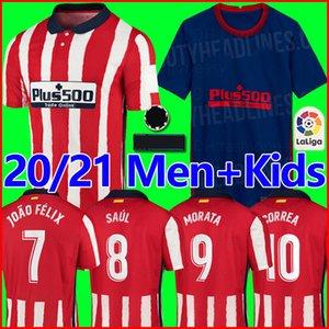 20 21 اتلتيكو جواو فيليكس مدريد المنزل الأحمر الأبيض لكرة القدم الفانيلة 2020 2021 KOKE SAUL GODIN قميص كرة القدم أطقم الرجال + أطفال camiseta de fboltbol