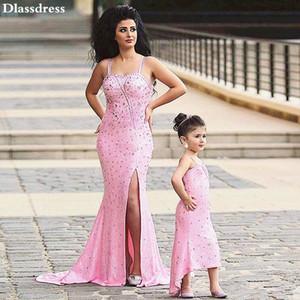 Princess Pink Flower Girl Dress 2020 Bead Mermaid Split Spaghetti Straps Sweep Train Backless Evening Prom Dress celebrity