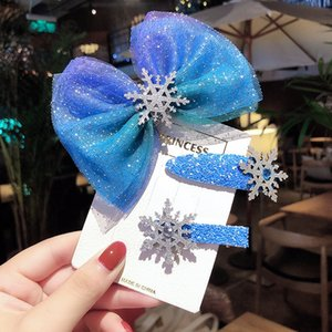 Korean Children's pin Princess Aisha butterfly b headdress ice and snow edge hair band set bow bow rope blue hair accessories female