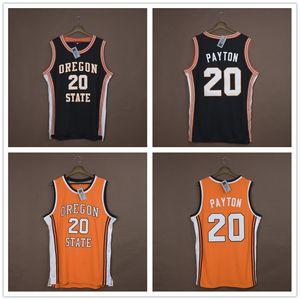 Pullover di pallacanestro maschile NCAA Custom # 20 Gary Payton Oregon State Beavers ricamato College Basketball veste di nero di formato S-6XL