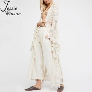 Jessie Vinson manera de las mujeres más el tamaño de manga larga perspectiva Cardigan largo del cordón del kimono de la playa de la cubierta del traje de baño plano Blanco general