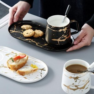 MUZITY Ceramic Milk Mug with Breakfast Plate Porcelain MarbleTea Mug and Saucer One Person Set T200506