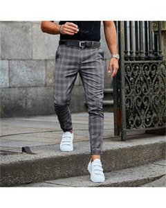 Man Fashion Style Pants Plaid Pencil Pants Casual Regular Mid Waist Button Fly Pants with Pockets