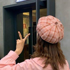 New Plaid art student hat children's summer girl beret Korean beret hatOctagonal hat octagonal hatstyle all-match cap