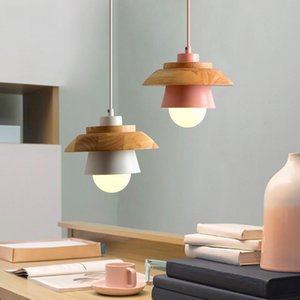 Color macaron restaurant led chandelier Nordic style log dining table lamp simple single head bar dining room led pendant lamp