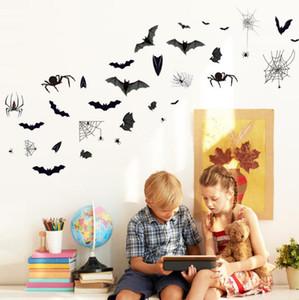 25x35 Halloween-Schläger-Spinnen-Wand-Aufkleber-Auto-Stick Elektrostatische Ohne Kleber Abnehmbare Wasserdicht Schrank Glas Tapete HauptDécor HA1036