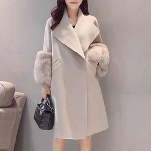 Vintacy 가을 겨울 2020 우아한 사무실 숙녀 외투 모피 패치 워크 긴 울 블렌드 단색 간단한 Outwears 여성 한국
