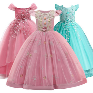 2020 teenager mädchen prinzessin blume lange spitze elegante kleider für mädchen wedding abend prom kleid kleider 3-14 yrs kinder kleidung