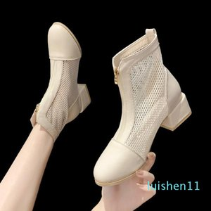 Fashion Womens Shoes 2020 Breathable shoes Block Heels Sandal Woman Boot Women's Summer Sandals All-Match Med Suit Female Beige l11