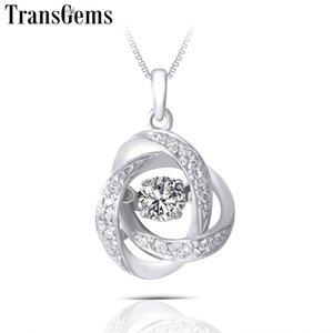 Transgems Solid 14K 585 White Gold Center 0.25ct 4mm F Color Moissnaite Diamond Pendant for Women Wedding Valentine Gift Y200620