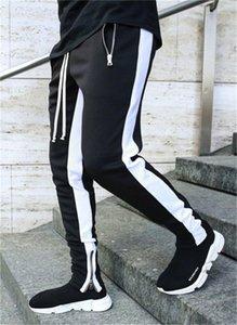 Pantaloni Moda coulisse matita con cerniera tasche dei pantaloni Mens Casual Designer metà di vita pantaloni lunghi a righe Mens