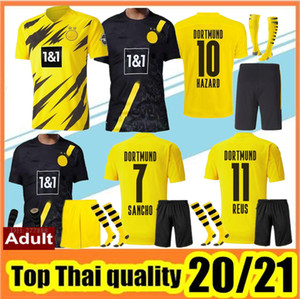 2020 2021Top Quality Borussia soccer jerseys kit 20 21 HAZARD REUS HAALAND SANCHO Jersey football shirt MEN Uniforms kit