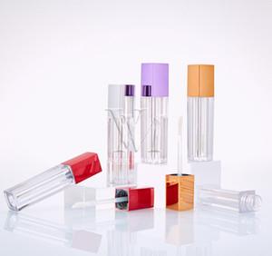 4 ml 6 ml 8 ml Vider Lip Gloss boîte en plastique Conteneurs Rose Roes Or Violet Lipgloss tube carré ronde Container Mini Lip Gloss Bouteille de Split