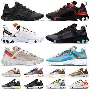 Nike 87 React Element 55 homens mulheres Tênis de corrida Camo Jade Dusty Peach Royal Tint Sail Pale Pink Mens Mens Trainers Sports sneakers Tamanho 36-45