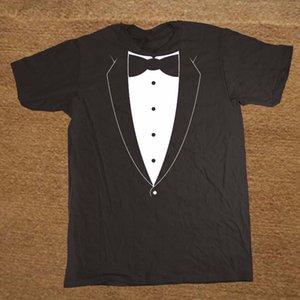 Tuxedo With Bowtie Suit Bachelor Party Design T Shirt Men Crew Neck Camisa T-Shirt Classic